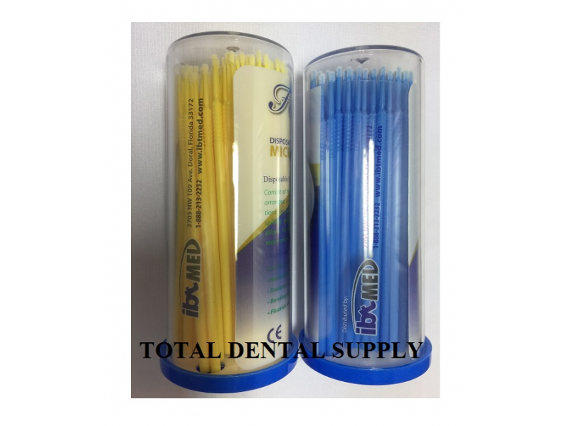 Micro Brush Applicator - FINE (SMALL) - YELLOW / BLUE Color coded - 400 PCS (4 TUBES)